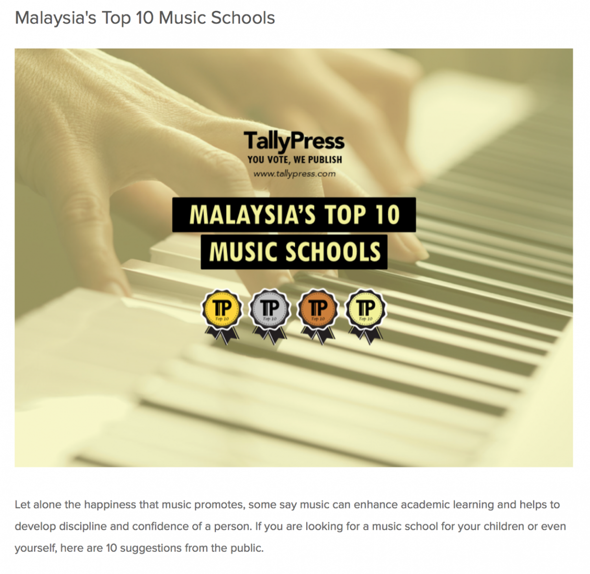 MALAYSIA'S TOP 10 MUSIC SCHOOLS